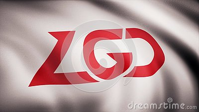Animation waving flag symbol of professional eSports team PSG.LGD. A world-class cyber sports team. Editorial use only