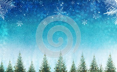 Conceptual christmas winter scene with decorative pine trees against star sky.