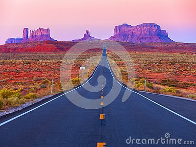Scenic view of Monument Valley in Utah at twilight, United States