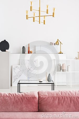 Vertical view of backside of powder pink sofa in white modern living room interior with coffee table, golden chandelier and maps