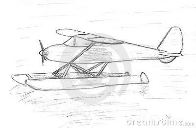 Easy Airplane Sits On The Water Sketch