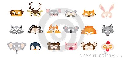 stock image of set of photo booth props masks of wild and domestic animals. great for party and birthday. vector illustration