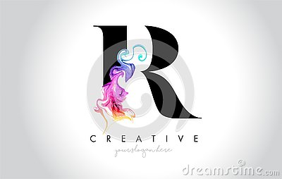 R Vibrant Creative Leter Logo Design with Colorful Smoke Ink Flo
