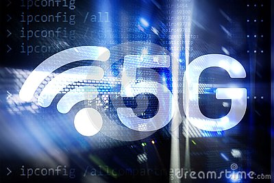 stock image of 5g fast wireless internet connection communication mobile technology concept