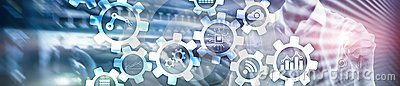 Automation technology and smart industry concept on blurred abstract background. Gears and icons. Website header banner