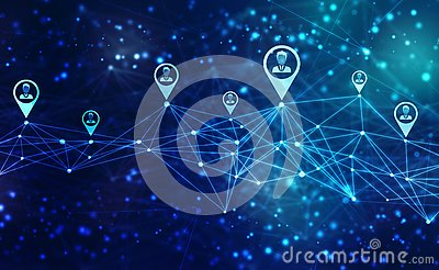 Business Network Concept Background, Social Networks and interaction concept