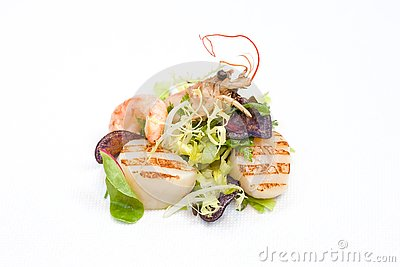 Grilled Scallop and Shrimp Salad.