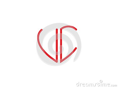 UC Initial heart shape Red colored love logo