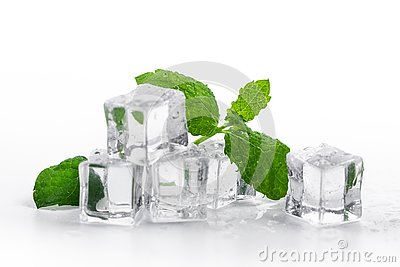 Fresh mint and ice cubes on white background