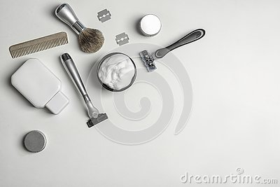 stock image of flat lay composition with men`s shaving accessories and space for text