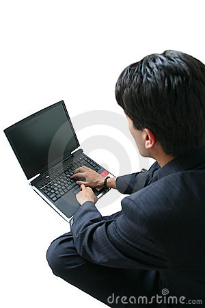 Business man laptop - (focus on laptop)
