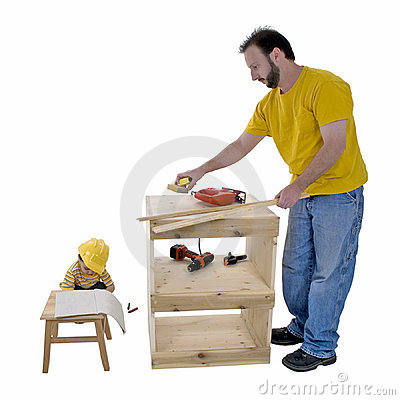 Family Lifestyle Father And Son Working Together