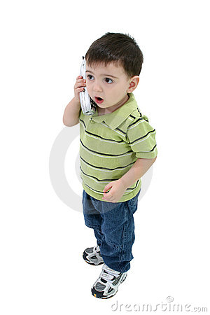 Adorable Boy Talking On House Phone Over White