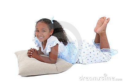 Beautiful Six Year Old Girl In Pajamas Over White