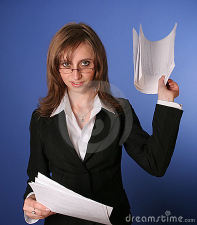 Young business woman with a file in her hands