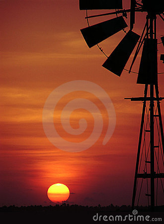 Sunset and windmill