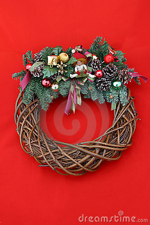 Christmas Wreath on Red