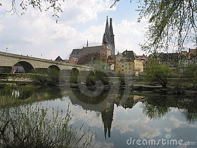 Reflection of Regensburg, Germany