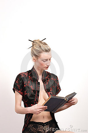 Asian style woman reading book