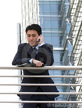 Business call outside on balcony