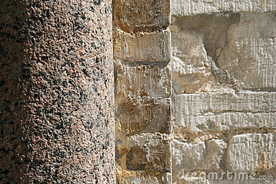 Stone column and wall