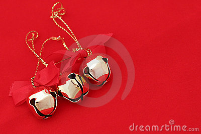 Three Christmas Bells on Red (left)