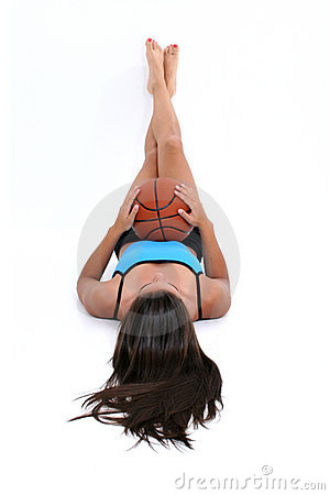 Beautiful Teen Girl Laying On Floor Holding Basket Ball