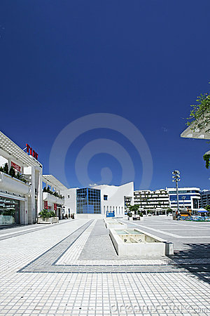 Portrait view of stunning main square in Puerto Banus, southern Spain