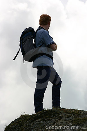 Backpacker on the summit