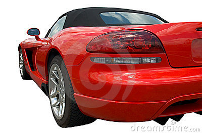 Red sports car form rear