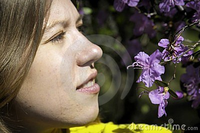 Young woman and flowers
