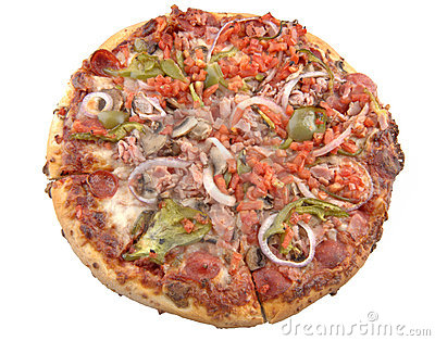 Supreme Pizza, isolated.
