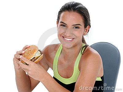 Beautiful Teen Girl Holding A Giant Cheeseburger