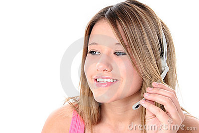 Beautiful Teen Girl With Headset Over White