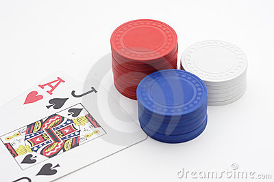 BlackJack with pile of poker chips
