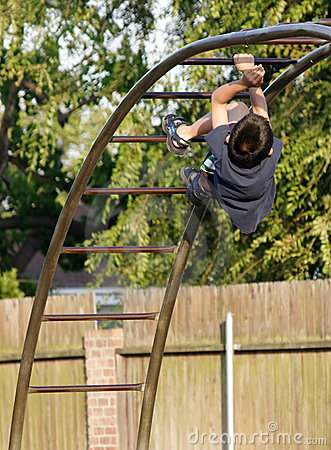 Boy climbing the monkey bars