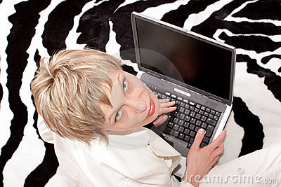 attractive businesswoman - Over the woman over the laptop