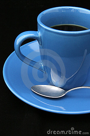 Coffee Cup and Spoon on Black