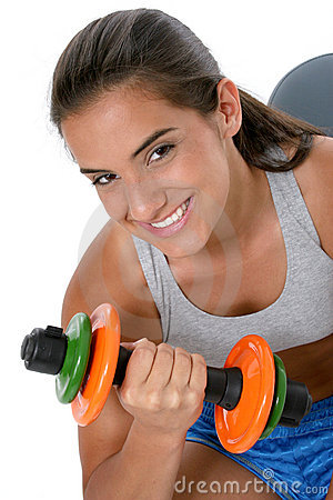 Beautiful Teen Girl In Workout Clothes With Weights
