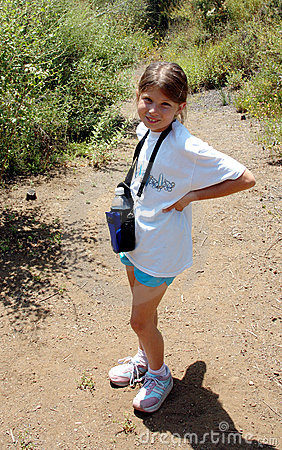 Girl hiking with water bottle