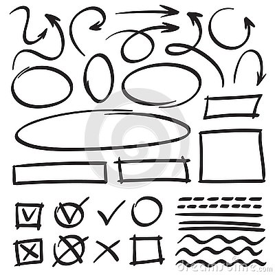 Sketch arrows and frames. Hand drawn circle, oval frame and arrow doodles. Cartoon pointers and lines vector set