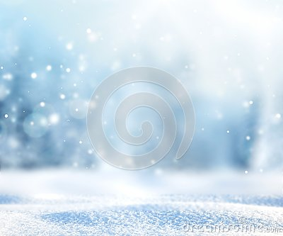 Blurred winter nature snowy background.