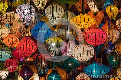 Lanterns, fine arts and handicraft in Hoi An old town, Vietnam. This region is the world`s cultural heritage, held UNESCO part 3