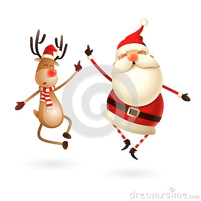 Happy expresion of Santa Claus and Reindeer - they jumping straight up and bring their heels clapping together right under