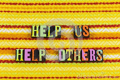 stock image of help us helping people charity others kind