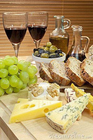 Platter of Cheese, Wine, Grapes, Olives, Bread