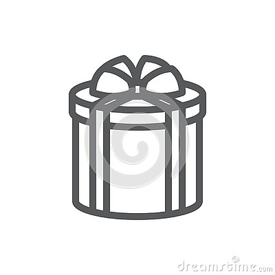 Wrapped round gift box decorated with ribbon and bow pixel perfect icon with editable stroke.