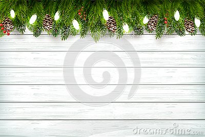 Holiday Christmas background with branch of tree and garland on