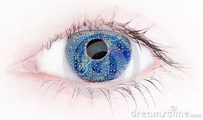 Human eye with with electronic circuit board reflection , Abstract