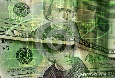 stock image of finance background with money and with stock chart.